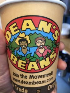 deans beans fair trade coffee cup