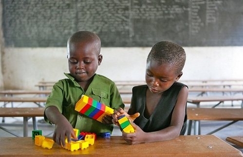 2011, Children playing with toys in an ECD class at Shirichena Primary School, Mhondoro district about 60km south of Harare. UNICEF supported the ECD class through supply of toys, training of ECD para-professionals and construction of an outdoor play centre.