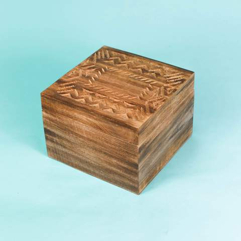 Wood Carved 4-Compartment Tea Box. Was $50, Now $46