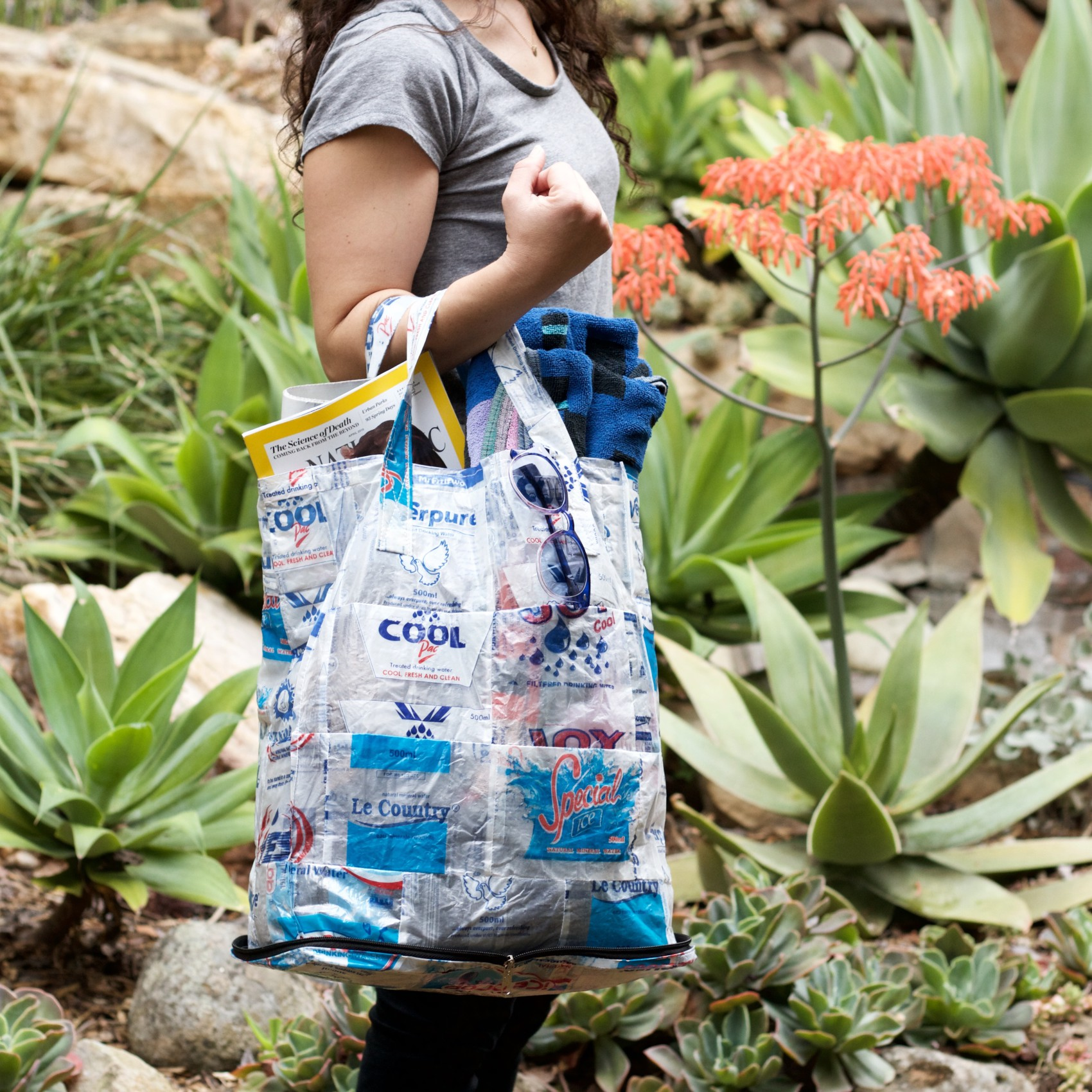 globein trashy bags hydrate upcycled water satchet bag