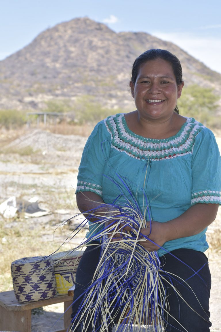 Marilu is one of the leaders of the Oaxacan basket weaver's group