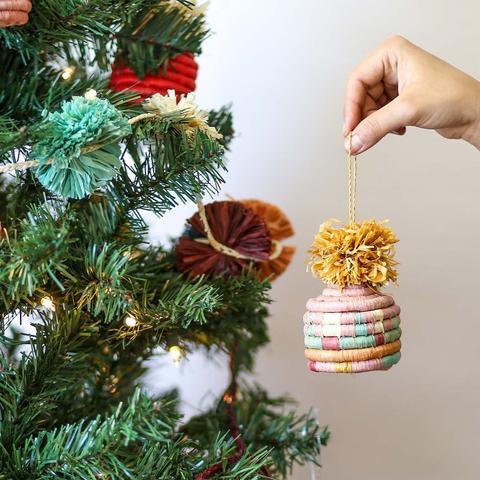 Pom Pom Basket Ornament - Blossom - GlobeIn