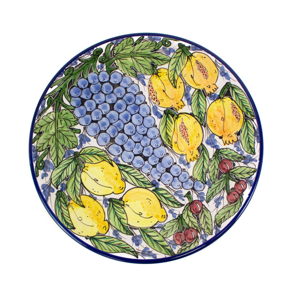Round Serving Platter - Fruit Motif - GlobeIn