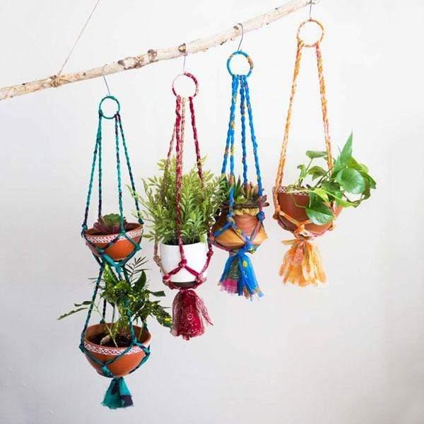 Sari Macrame Tiered Planters