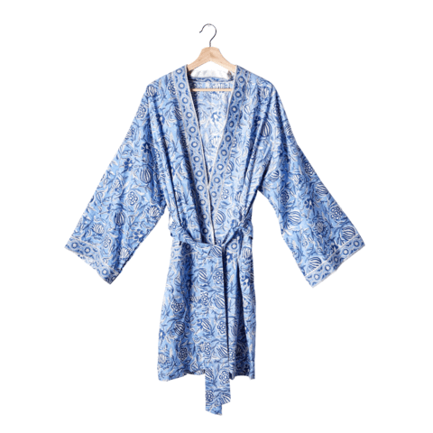 Block Print Robe - Blue. Was $75, Now $70