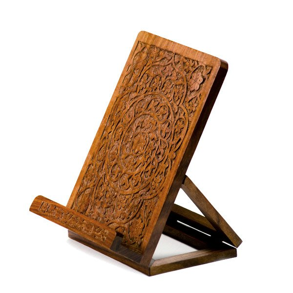 handcarved rosewood tablet stand
