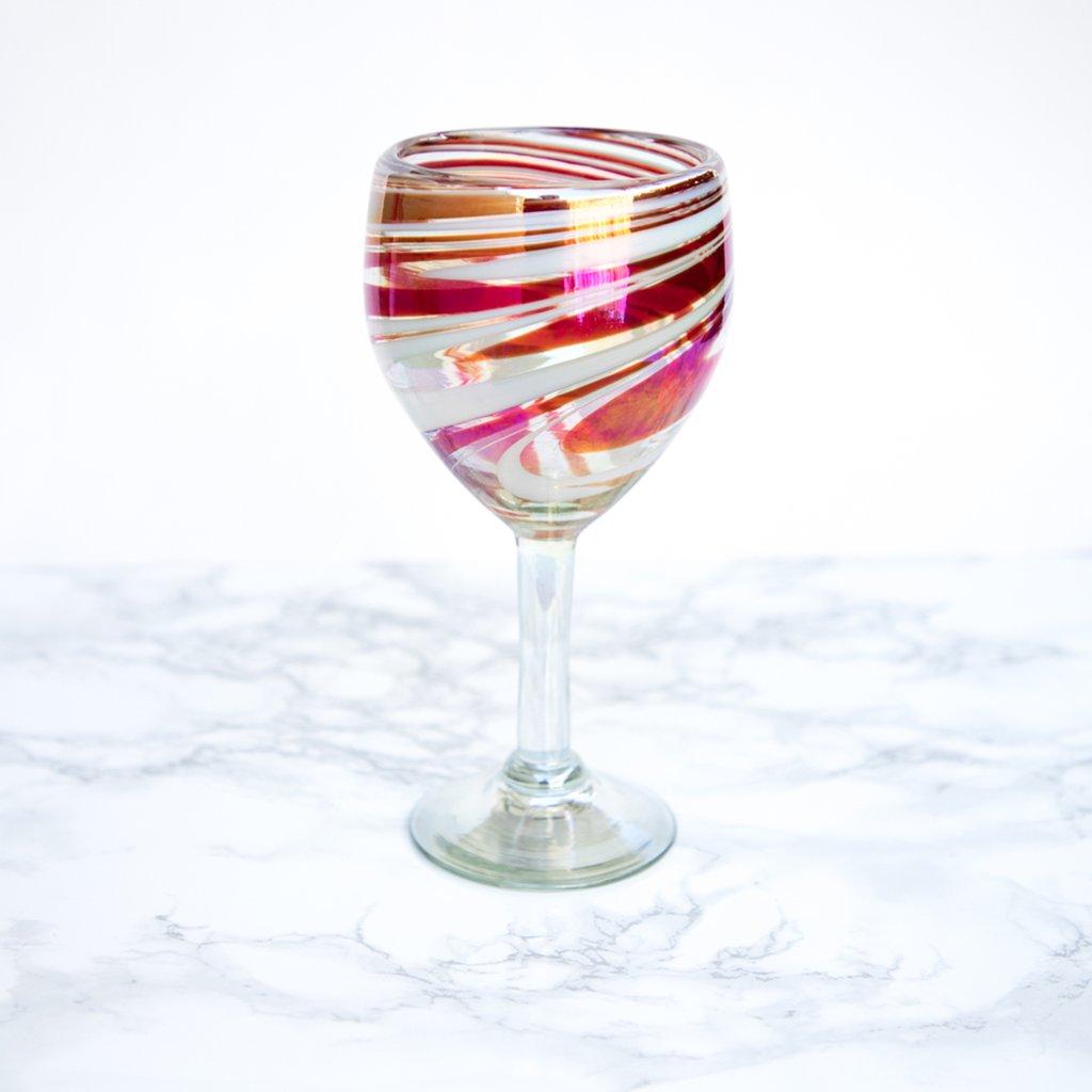 Handblown Wine Glass Iridescent Swirl